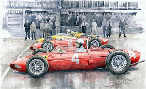 California Home Decor ferrari 156 sharknose 1961 belgian gp painting by yuriy