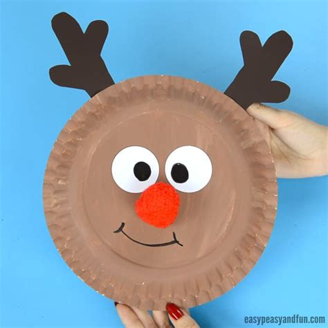 Reindeer Paper Crafts - reindeer paper plate craft with a nose easy