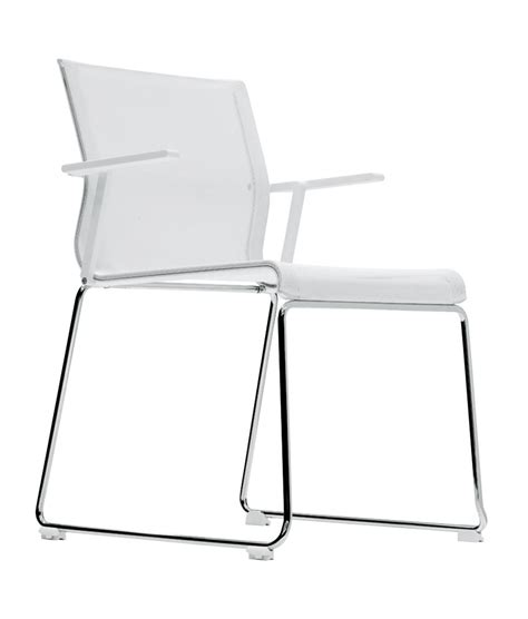 Icf Plans fauteuil empilable stick chair assise tissu blanc base