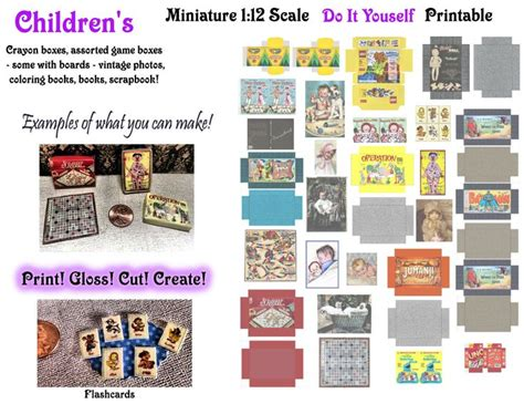 miniature doll board game box printables diy  scale