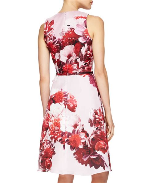 Tie Waist Floral Print Dress carolina herrera floral print tie waist cocktail dress