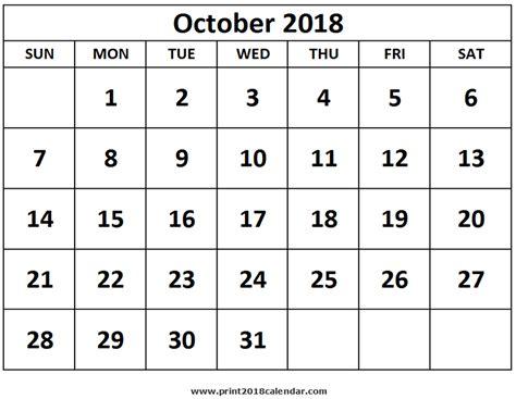 october 2018 calendar print october 2018 calendar