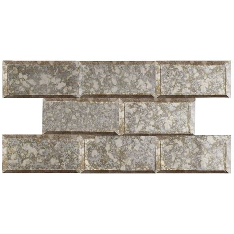 merola tile lustre beveled antique mirror 3 in x 6 in glass wall tile 1 sq ft pack