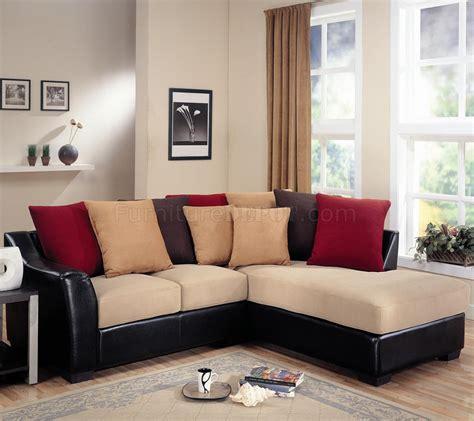 modern microfiber sectional sofa vinyl base  beigedark brown