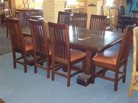 custom 8 seat ironwood dining table set by