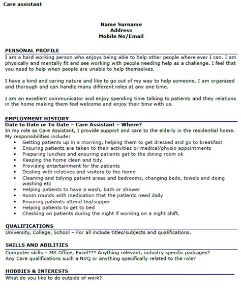 Cv Template Care Assistant care assistant cv exle icover org uk