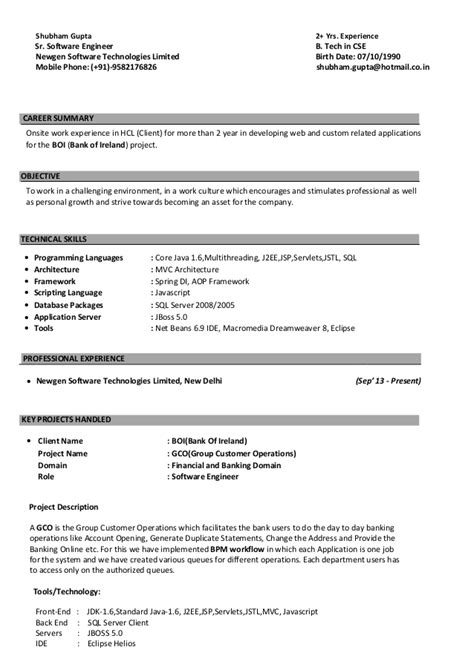 java 2 yrs experience resume qtp resumes for experienced