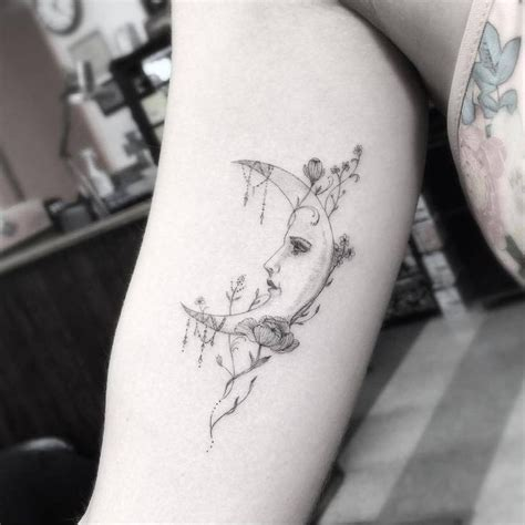 tattoo needle for thick lines fine line style moon tattoo on the inner arm by dr woo