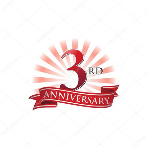 3rd anniversary images 3rd anniversary ribbon logo with rays of light stock vector 169 ariefpro 113097146