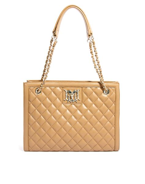 Moschino Quilted Shoulder Bag by Moschino Structured Quilted Shoulder Bag In Beige