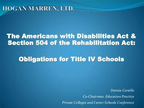 The Americans With Disabilities Act Section 504 Of The
