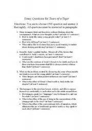 Tears Of A Tiger Essay by Worksheets Tears Of A Tiger Essay Questions