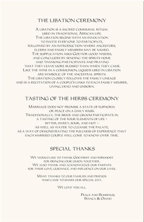 The Design Of Wedding Program Thank You Wording Criolla | african american wedding programs adinkra wedding program