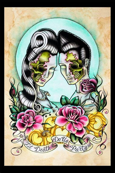 tattoo flash halloween halloween tattoo flash til death do us party print by