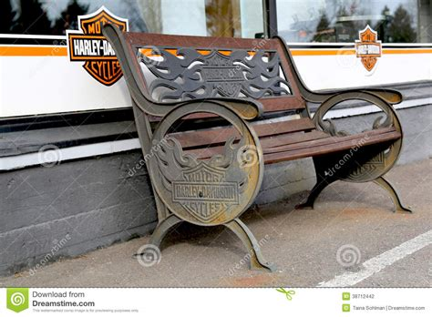 harley davidson bench vintage bench with harley davidson signage editorial photography image 38712442