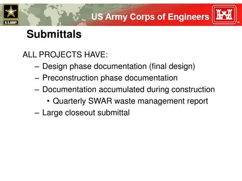 Ppt Leed During Construction Powerpoint Presentation Id 40648 Usace Submittal Register Template