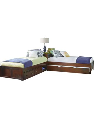 l shaped beds with corner table amazing deal on larkin l shape size corner bed cherry
