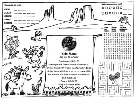 menu template for pages restaurant placemats coloring pages