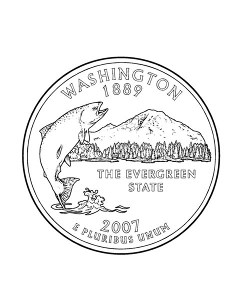 washington state quarter coloring page usa state