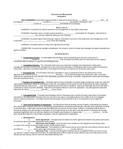 8 Sle Construction Management Agreements Sle Templates Construction Management Agreement Template