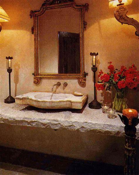 tuscan powder bathroom design