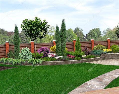 garten 3d landscape design garden bed 3d render stock photo
