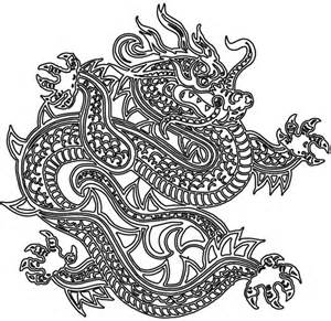 Chinese Dragon Tattoo Outlines Sketch Coloring Page sketch template