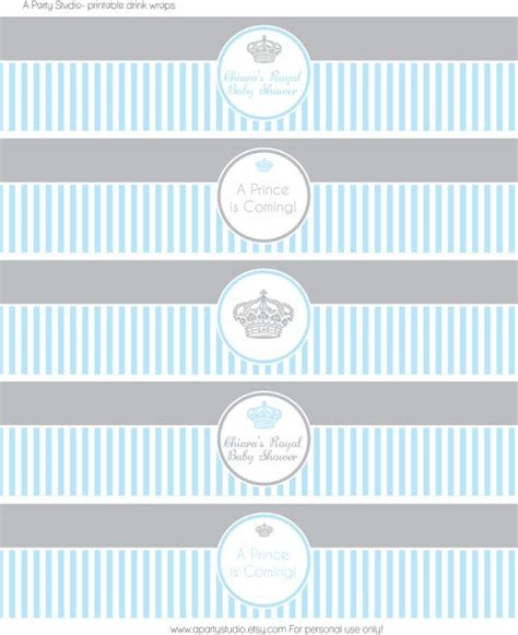 templates for water bottle labels baby shower printable little prince baby shower in blue and grey