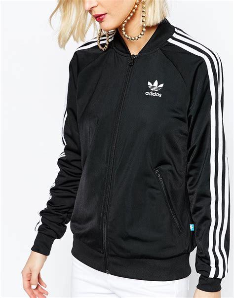 Jaket Sweater 3 Colour Adidas Black adidas originals black three stripe bomber jacket in black lyst