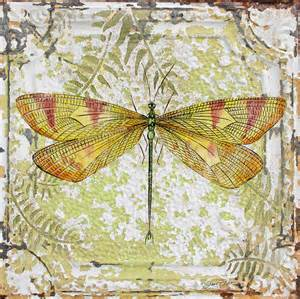 Dragonfly Duvet Cover Yellow Dragonfly On Vintage Tin Painting By Jean Plout