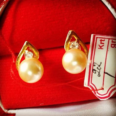 Perhiasan Set Gold Mutiara Manik handmade gold pearl stud earrings gwz 01 harga mutiara