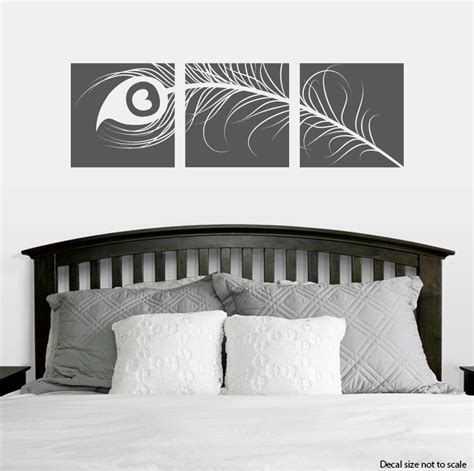 peacock feather wall sticker peacock feather triptych wall decal sticker