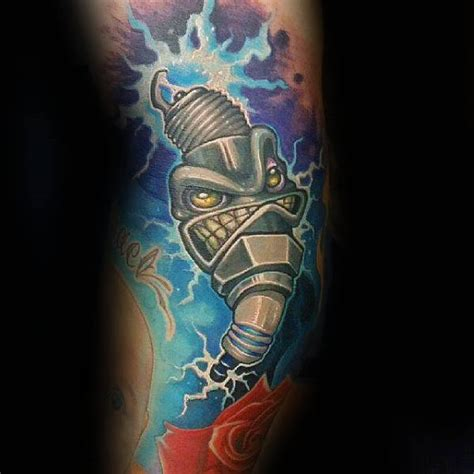spark plug tattoo 70 spark designs for cool combustion ink