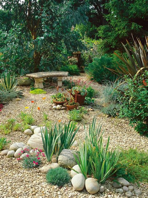 River Rock Garden Landscaping With River Rock River Rock Garden Ideas The Happy Housie