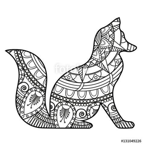 fox mandala coloring page quot vector illustration of a black and white mandala fox for