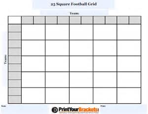 customizable 25 square football grid customize your 25