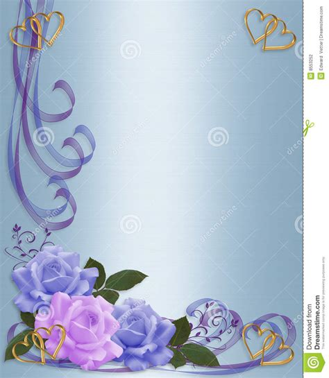 Wedding Invitation Roses Border Blue And Lavender Stock