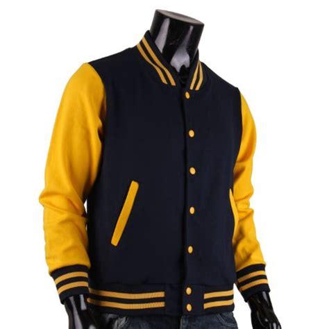 Jaket Varsity Navy Abu Muda Jaket Baseball Size M Xl bcpolo s varsity jacket navy yellow baseball jacket