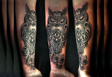 owl tattoo aztec owl forearm tattoo by greg couvillier tattoo black grey