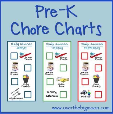Main Bathroom Ideas by Pre K Chore Charts Over The Big Moon