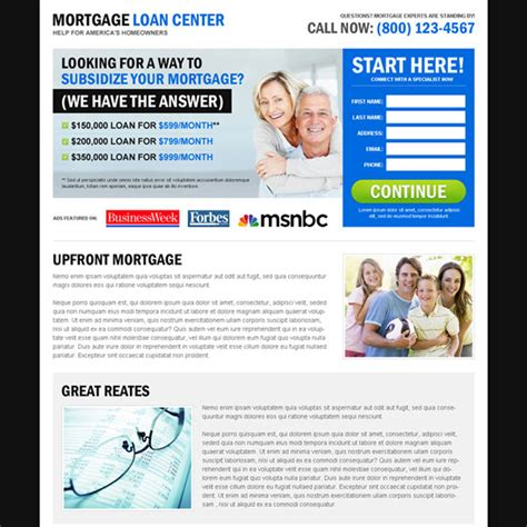 Mortgage Loan Center Effective And User Friendly Lead Capture Landing Page Design Mortgage Exle Lead Capture Template