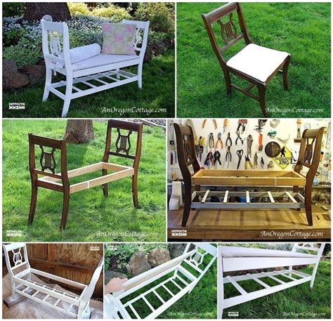chair bench diy diy bench from broken chairs home design garden