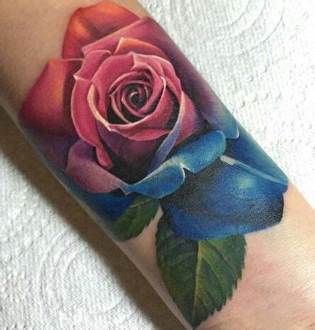 colored rose tattoo realistic multi colored ideas