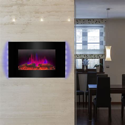 electric in wall fireplace akdy 36 in wall mount electric fireplace heater in black with tempered glass pebbles logs and