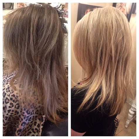 chunky highlights with a partial shave before after partial highlights honey blonde bright blonde
