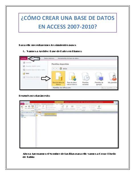 tutorial excel 2010 base de datos base de datos access base de datos access crear una