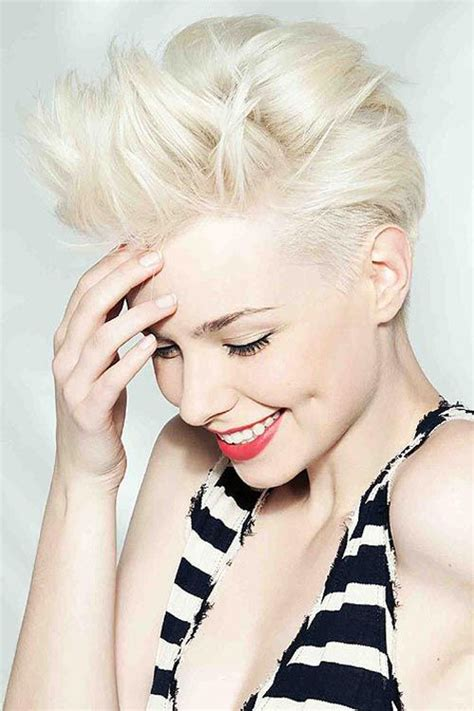 short platinum blonde hairstyles women pixie faux hawk hair pinterest sexy for women and