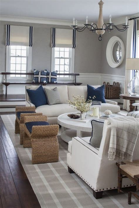 Pretty Grey Navy Nautical Themed Room So Pretty Blue And White Living Room Decorating Ideas