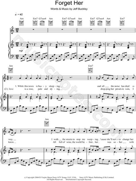 printable hallelujah lyrics jeff buckley jeff buckley quot forget her quot sheet music in a minor
