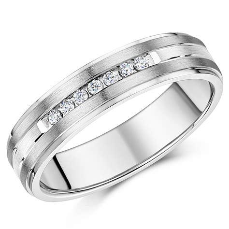 6mm titanium silver cz wedding ring band titanium